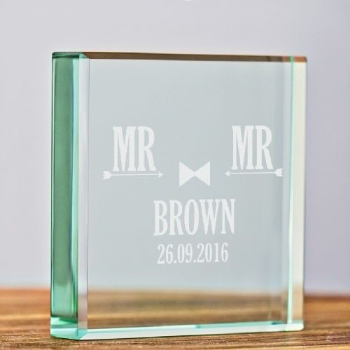 Personalised MR and MR Engraved Glass Keepsake